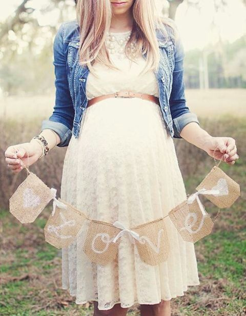 Adorable 26 White Lace Gown With A Skinny Belt And A Denim Jacket