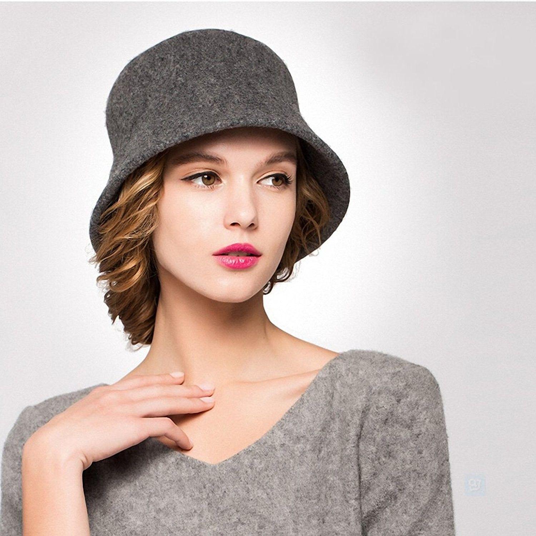 Women s Simple Wool Felt Bucket Hat - Gray - CN1293EA991 - Hats   Caps bb5301009670