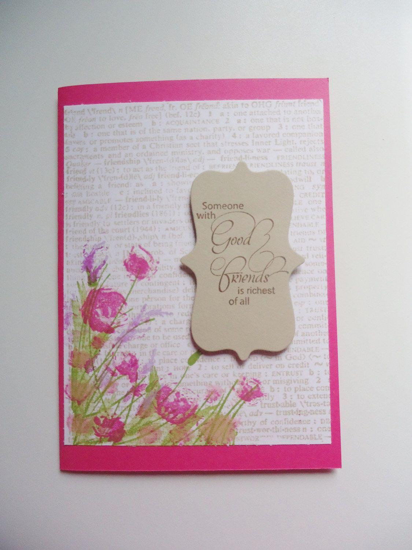 Happy Birthday Friend Pink Floral Stamped Birthday Greeting Card