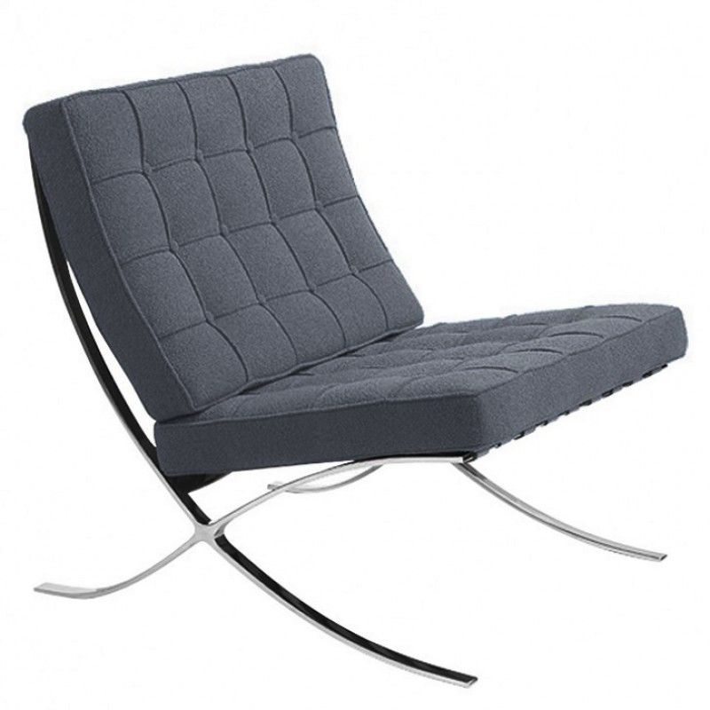 Grey Wool Fabric Barcelona Chair Reproduction Chair Fabric