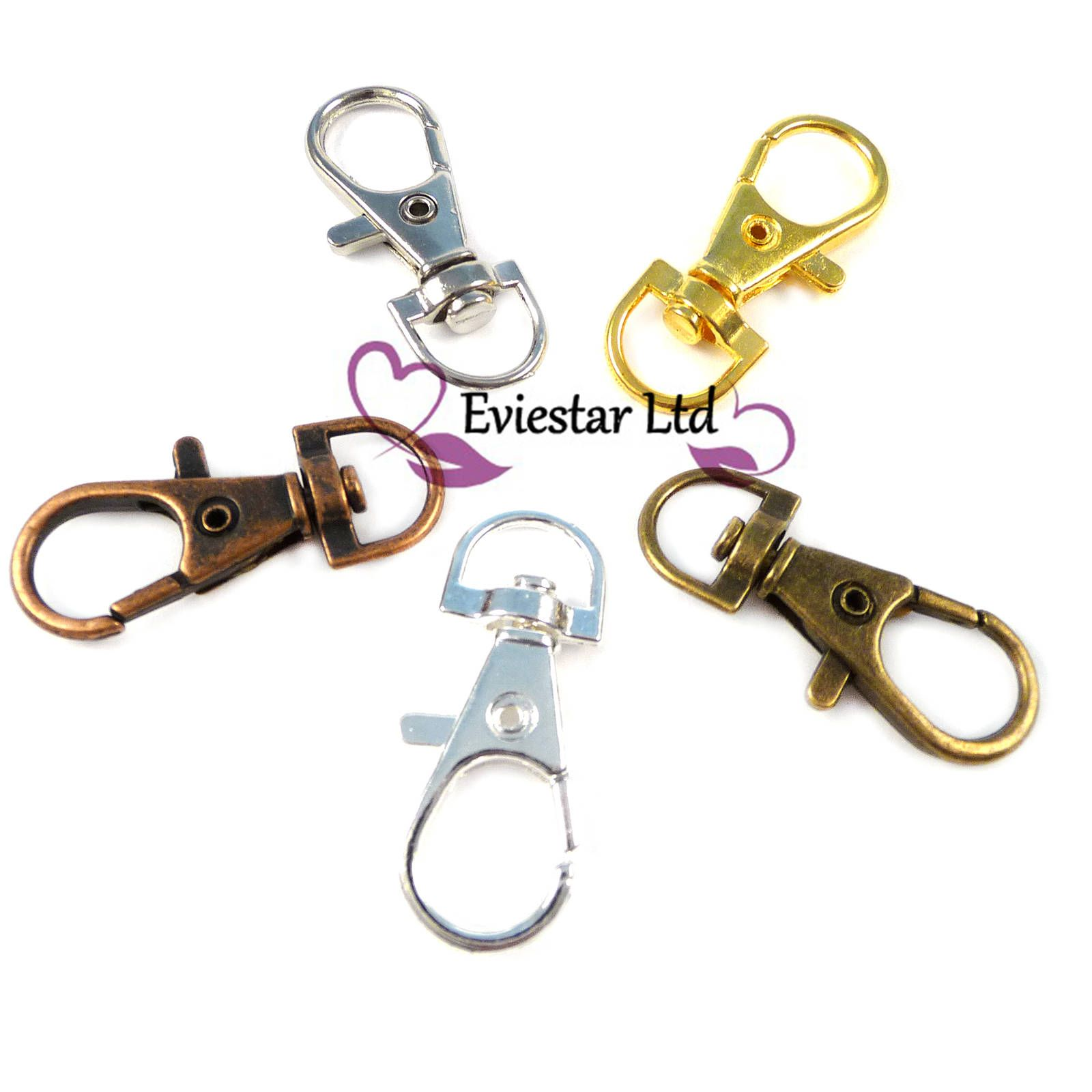 Silver Key Ring Swivel Trigger Clips Snap Hook Lobster Clasps Rings DIY Supply