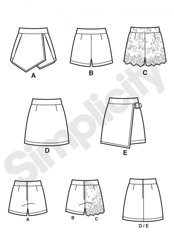Simplicity 7759 Simplicity 7759 Short, jupe culottes et jupe, tailles 32 à 40 et 40 à 48