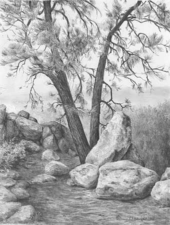 Piute Mountain Ii Graphite Pencil Drawing By Diane Wright Landscape Pencil Drawings Landscape Drawings Graphite Drawings
