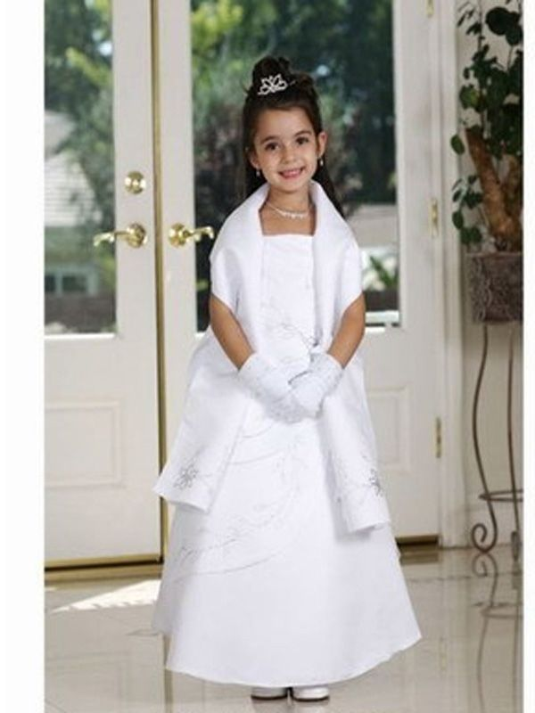 Ball Gown Stain White Flower Girl Dress with Long Shawl | Flower ...