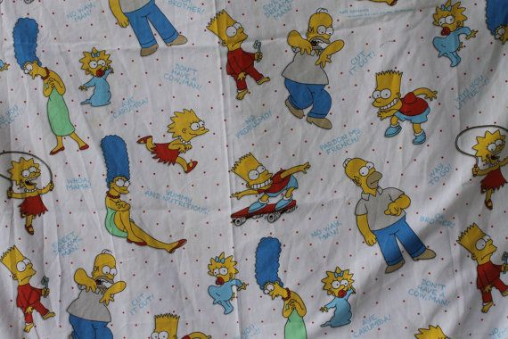 80s The Simpsons Cartoon Characters Matt Groening Fox Film Print twin flat Sheet, in really great condition with minor wear .    This is from my