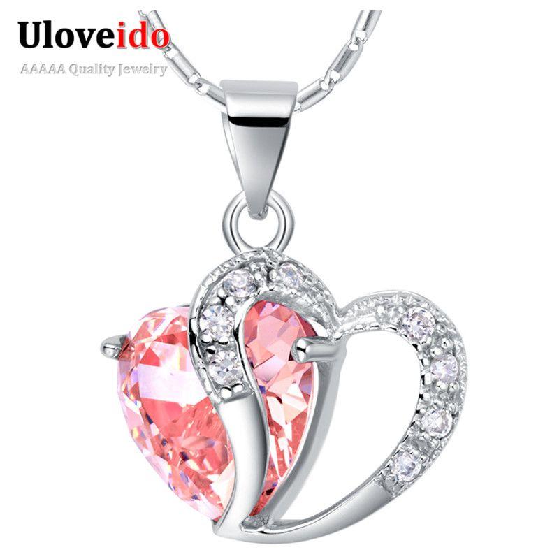 15% de las mujeres collar de corazón plata de ley 925 collares para las  mujeres