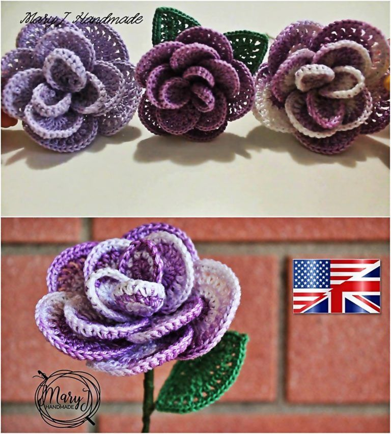 Crochet Flower Rose - Free Crochet Patterns ✓   Sewing   Pinterest ...