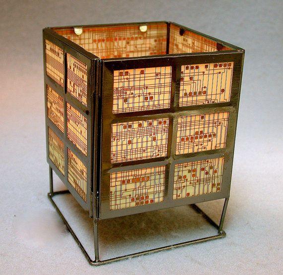 recycled circuit board geek vintage lantern candle holder vintage rh pinterest com