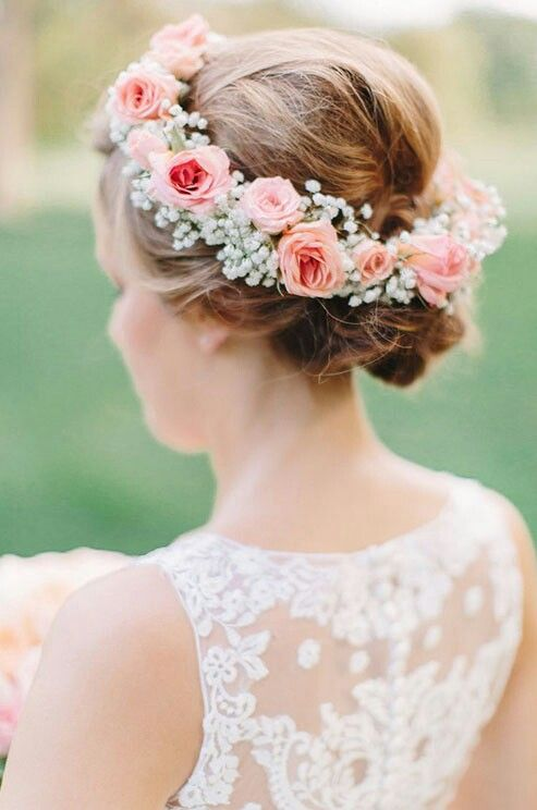 Beautiful Fresh Floral Wreath Of Pink Coral Roses Baby S Breath Bridal Flowers Bridal Flower Crown Baby Breath Flower Crown