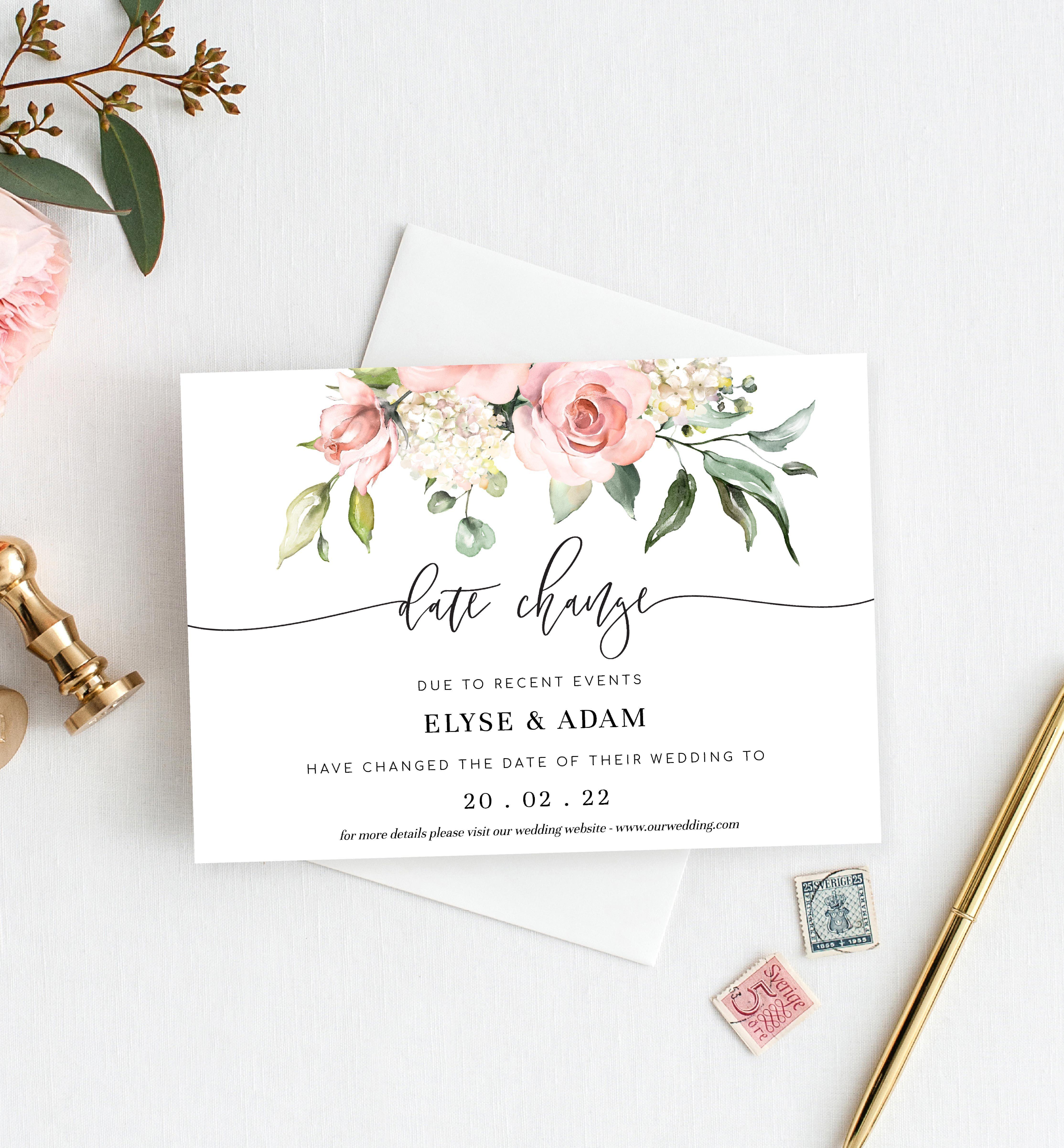 Printable Wedding Postponement Announcement Editable Postponed Wedding Instant Download 02 Wedding Change Template Change of Date