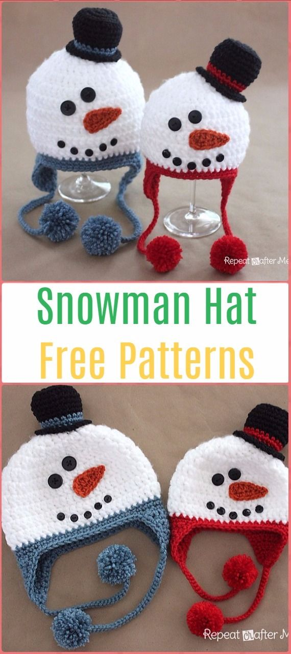 Crochet Snowman Hat Free Pattern - Crochet Christmas Hat Gifts Free ...