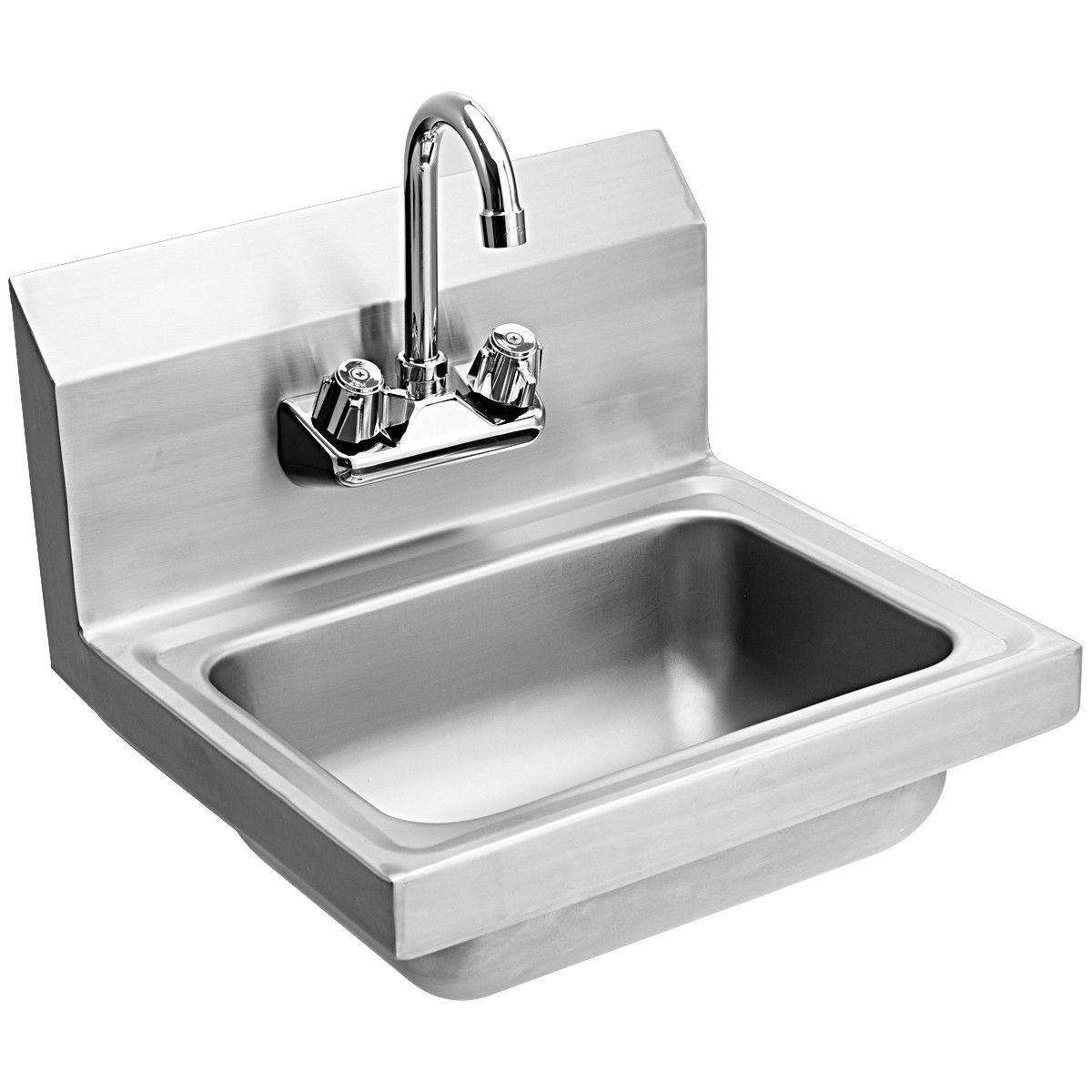 Stainless Steel Wall Mount Washing Sink Basin With Faucet Steel Wall Sink Wall Mounted Sink