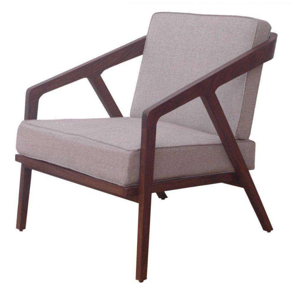 Libra Furniture Dark Wood Retro Style Low Slung Upholstered Armchair
