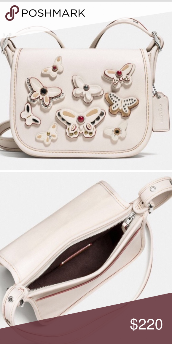 COACH PATRICIA SADDLE BAG Cream Coach saddle bag in natural leather with  butterfly appliqué. No trades. Comes wrapped in Coach tissue paper and gift  box. 28b7517e1c