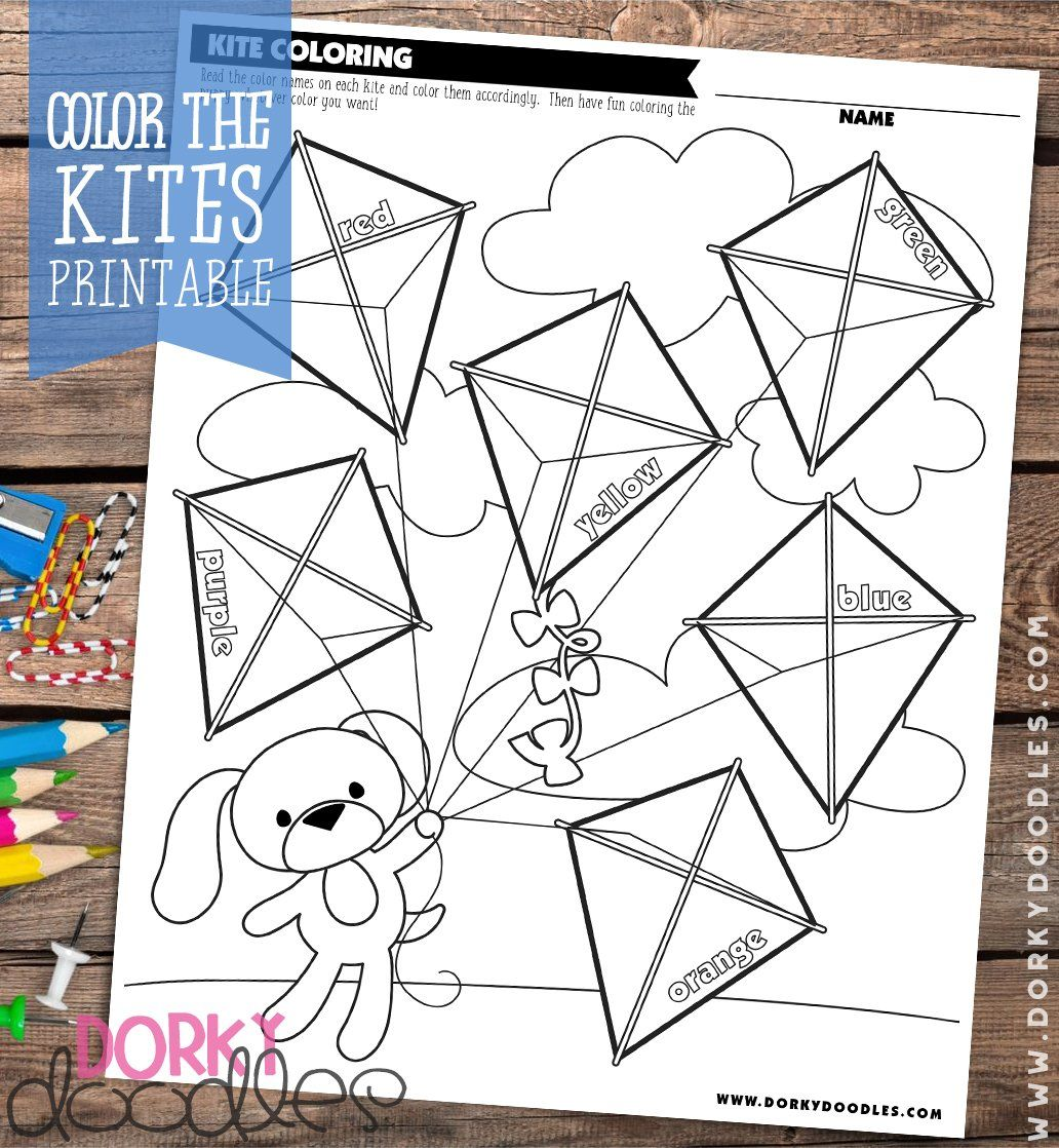 Color The Kites Printable Worksheet