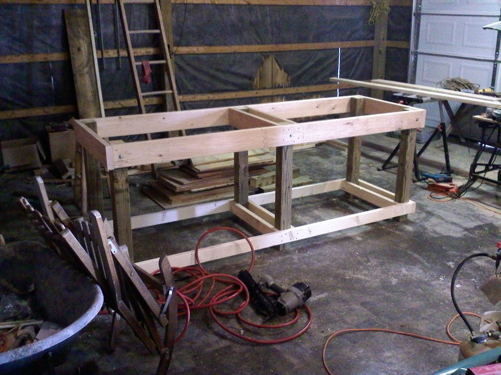 Homemade Garage Workbench Cut 32 Quot Pieces Of 2x6 And 2x4