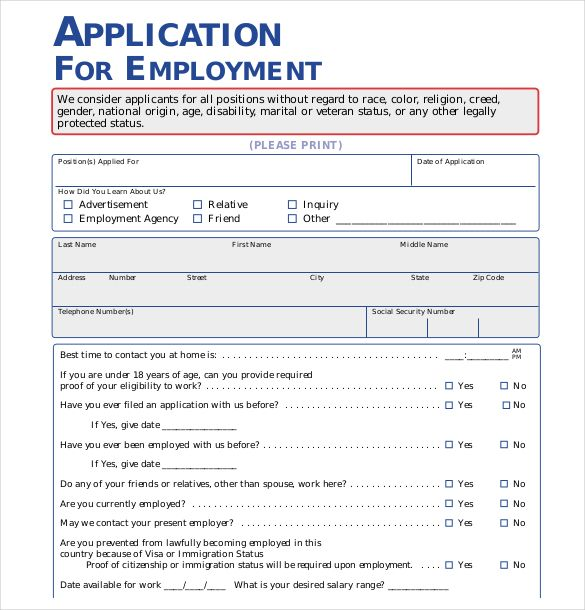 Application For Employment Template Free Prepossessing Free Job Application Template  15 Employment Application Templates .