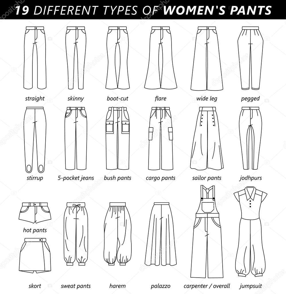 Conjunto De Siluetas De Diferentes Tipos De Pantalones Pantalones Y Pantalones Cortos Vocabulario De Moda Bocetos De Diseno De Moda Dibujo De Diseno De Vestido