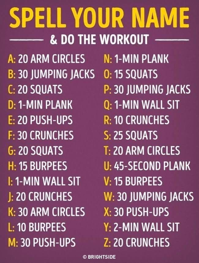 Pin By Chasity Anderson On Health And Fitness Planet Fitness Workout Gymnastics Workout Spell Your Name Workout