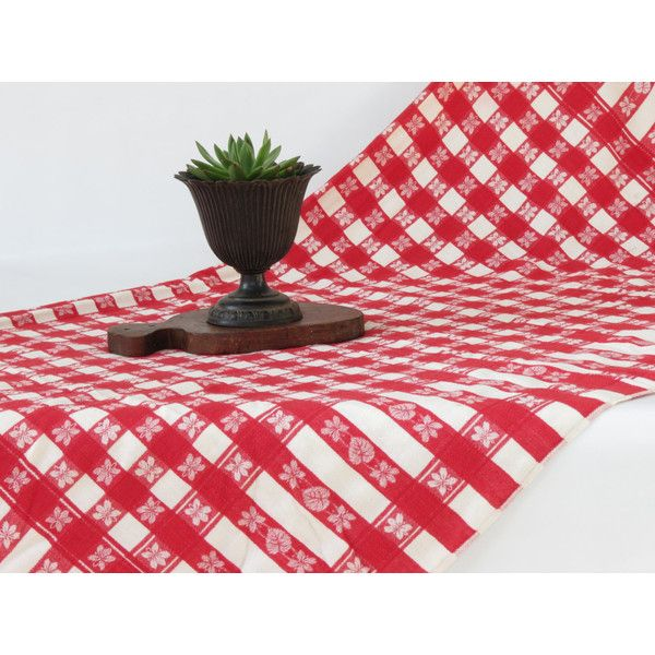 Vintage Red And White Checked Table Cloth Vintage Red And White Picnic... (