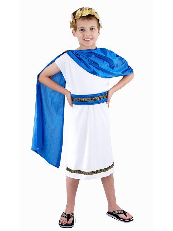 Kids Boys Girls Roman Fancy Dress Costume Greek Goddess Caesar Size 4-14 years