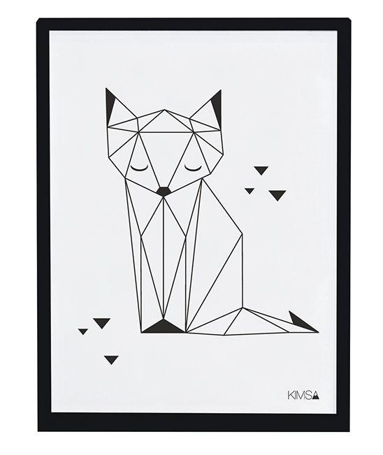 Affiche Enfant Renard Noir Et Blanc Lilipinso Kimsa Patterns In
