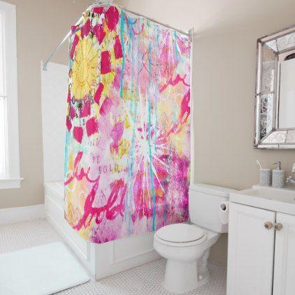 Abstract Art Pink Aqua Yellow Paint Splatter Fun Shower Curtain