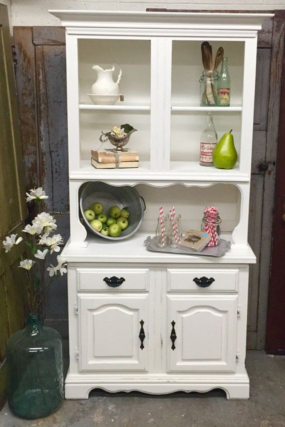 White Kitchen Hutch Dining Room China Hutch Distressed Painted Simple White Kitchen Hutch Inspiration