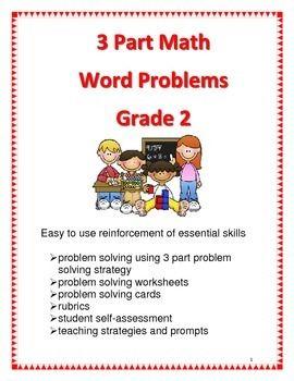3 Part Math Word Problems For Grade 2 Math Word Problems Word Problems Problem Solving Worksheet