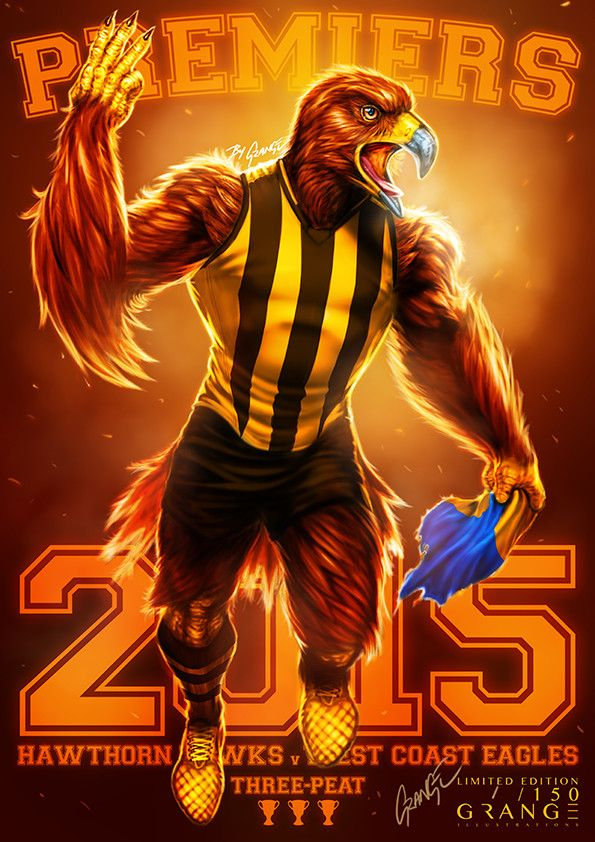 The Mighty Premiers From Hawthorn 2015 Print By Grange Wallis Hawthorn Football Hawthorn Football Club West Coast Eagles