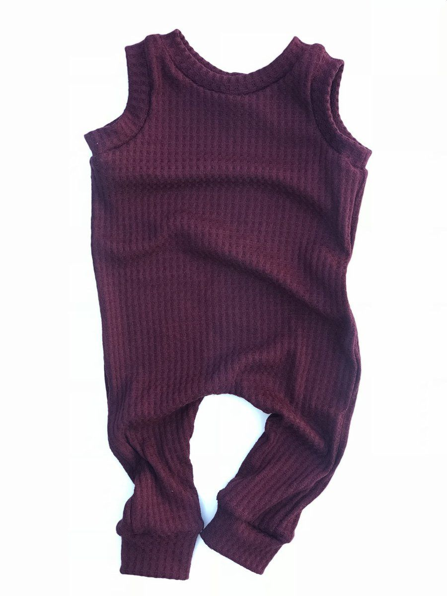 e7f374344 Our Burgundy waffle knit snapless romper is a one piece that is perfect to  throw on real quick for an easy adorable outfit. The waffle knit fabric is  ...