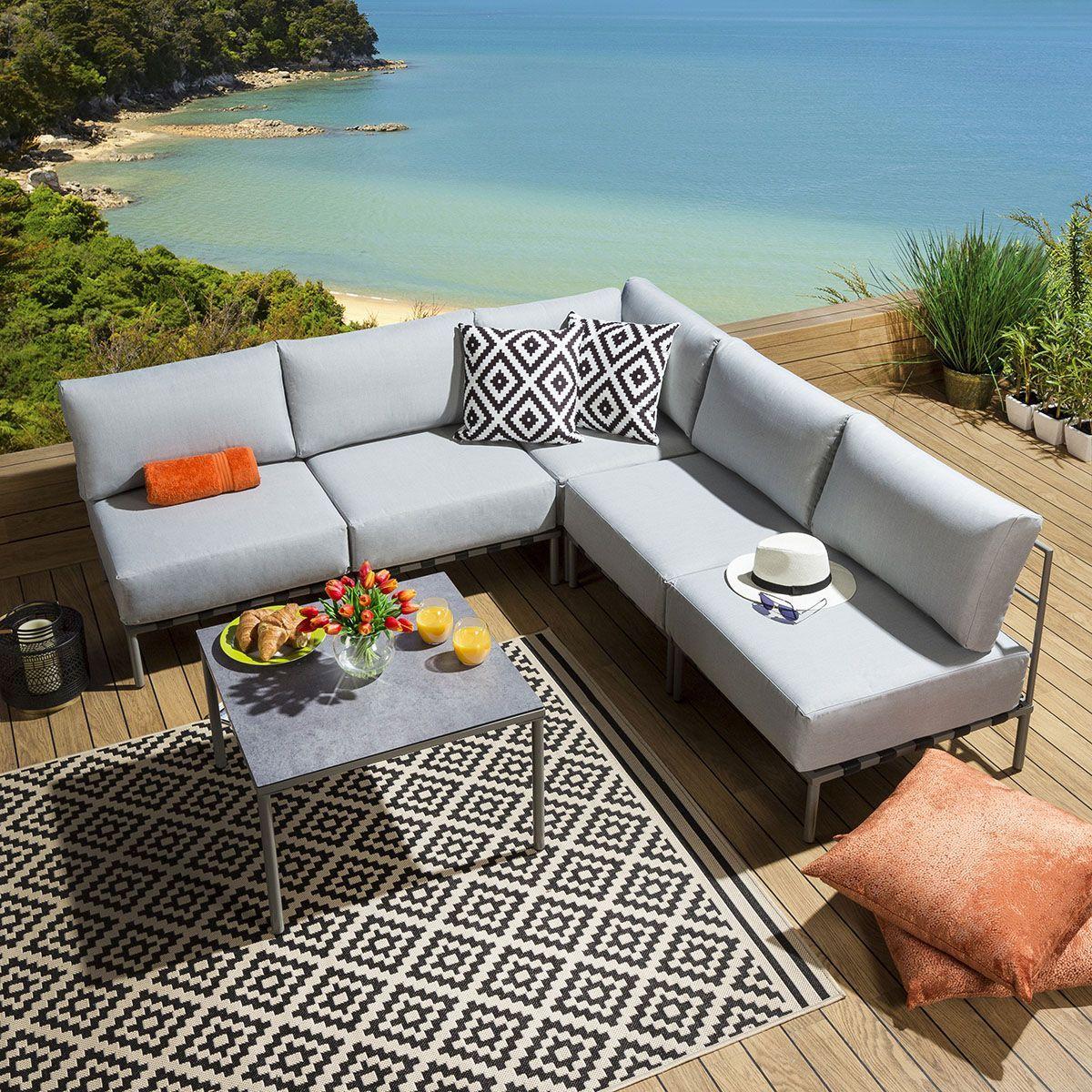 Outdoor Garden Corner Sofa Set L Shape 6 Piece Grey Ceramic Table L6 In 2020 With Images Corner Sofa Set Sofa Set Corner Sofa