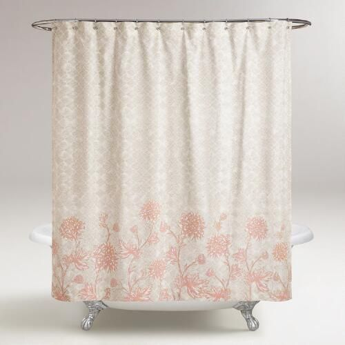 Gray And Blush Floral Fiona Shower Curtain Pink Shower Curtains
