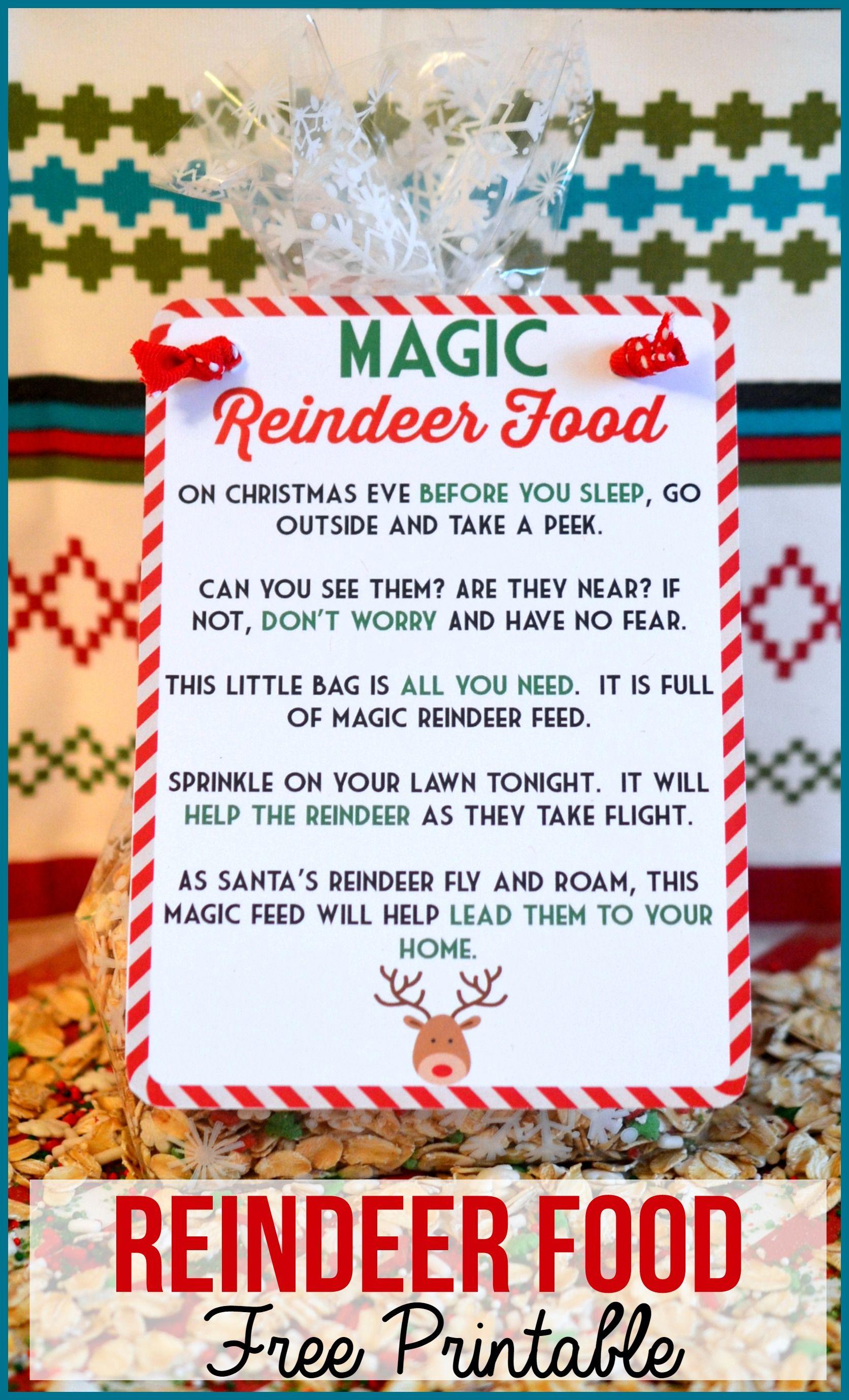Magic Reindeer Food Poem & Free Printable #reindeerfoodrecipe