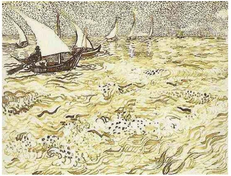 Drawing, Reed pen Arles: July 31 - August 6, 1888 Guggenheim Museum New York, New York, United States of America, North America Image Only - Van Gogh: Fishing Boats at Sea