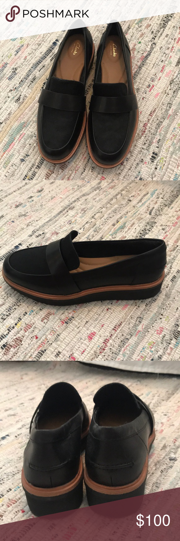 b6b1cfd0d65 Clarks Women s Black Leather Loafer Condition  Never worn Size  6.5 Style  Teadale  Elsa Loafer 1 1 4   heel