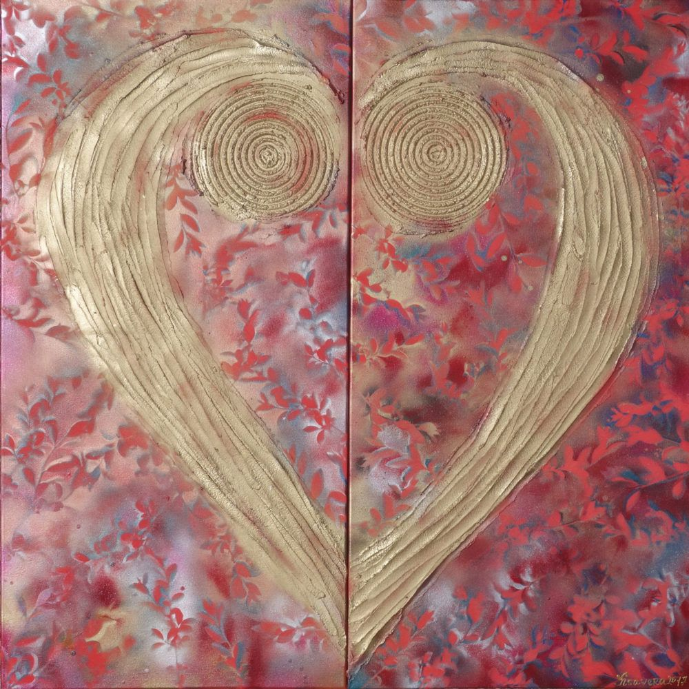 Red gold heart love abstract painting textured wall art a