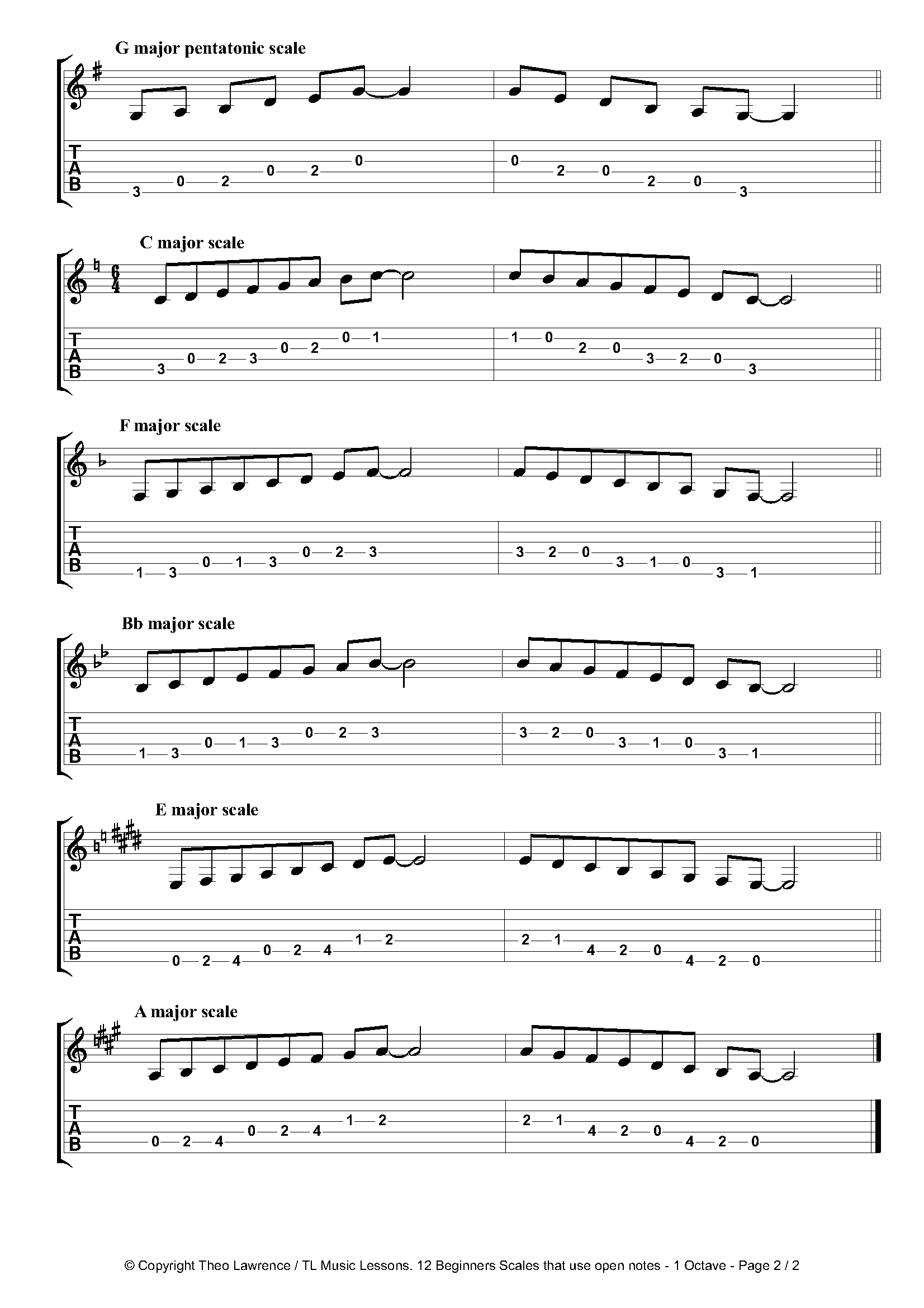 12 Beginners 1 Octave Open Scales