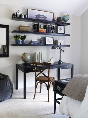 This Or That Floating A Home Office Cococozy Dark Wood Desk Floating Shelves Bedroom Floating Shelves