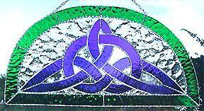 "Celtic Knot Suncatcher - Blue & Green Stained Glass - 9"" x 17"" - $64.95 --- Celtic Designs, Irish Designs, Irish Sun Catchers - Glass Suncatchers, Stained Glass Décor, Stained Glass Sun Catchers -  Stained Glass Design - See more stained glass designs at www.AccentonGlass.com"