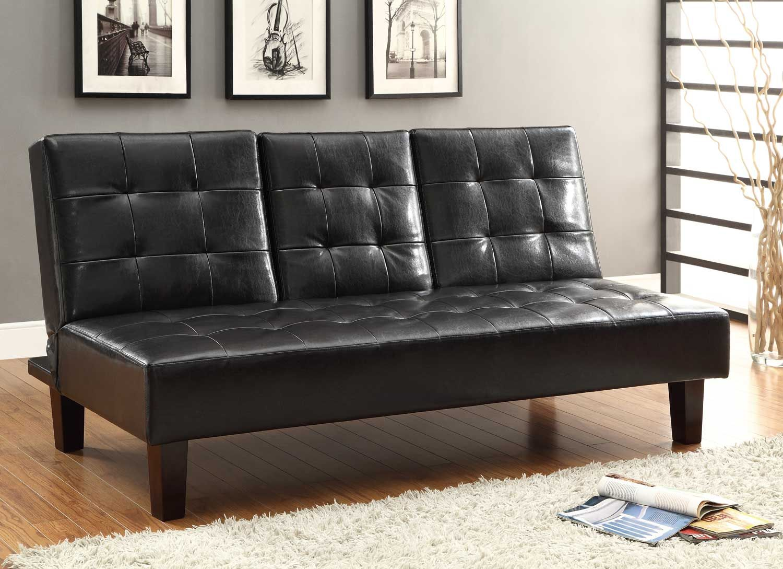 Homelegance reel click clack sofa bed dark brown tufted fronts price 339 00