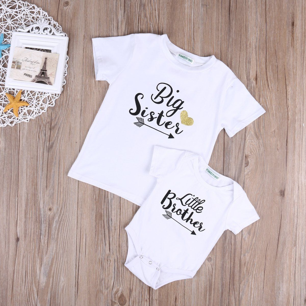Toddler Baby Big Sister Little Brother Tops T-shirt Summer Matching Clothes