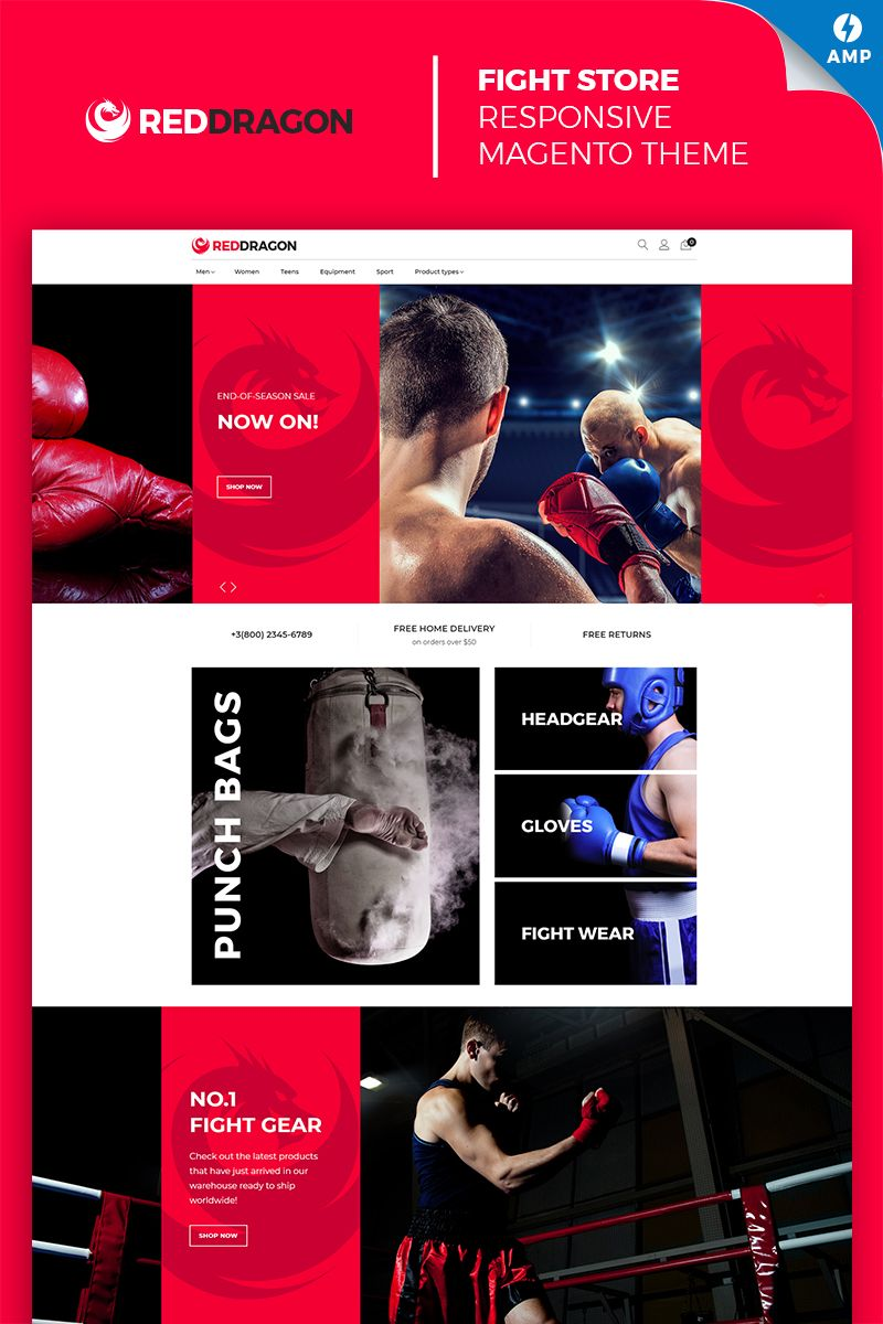 Boxing Club & Gear Online Store Magento template.