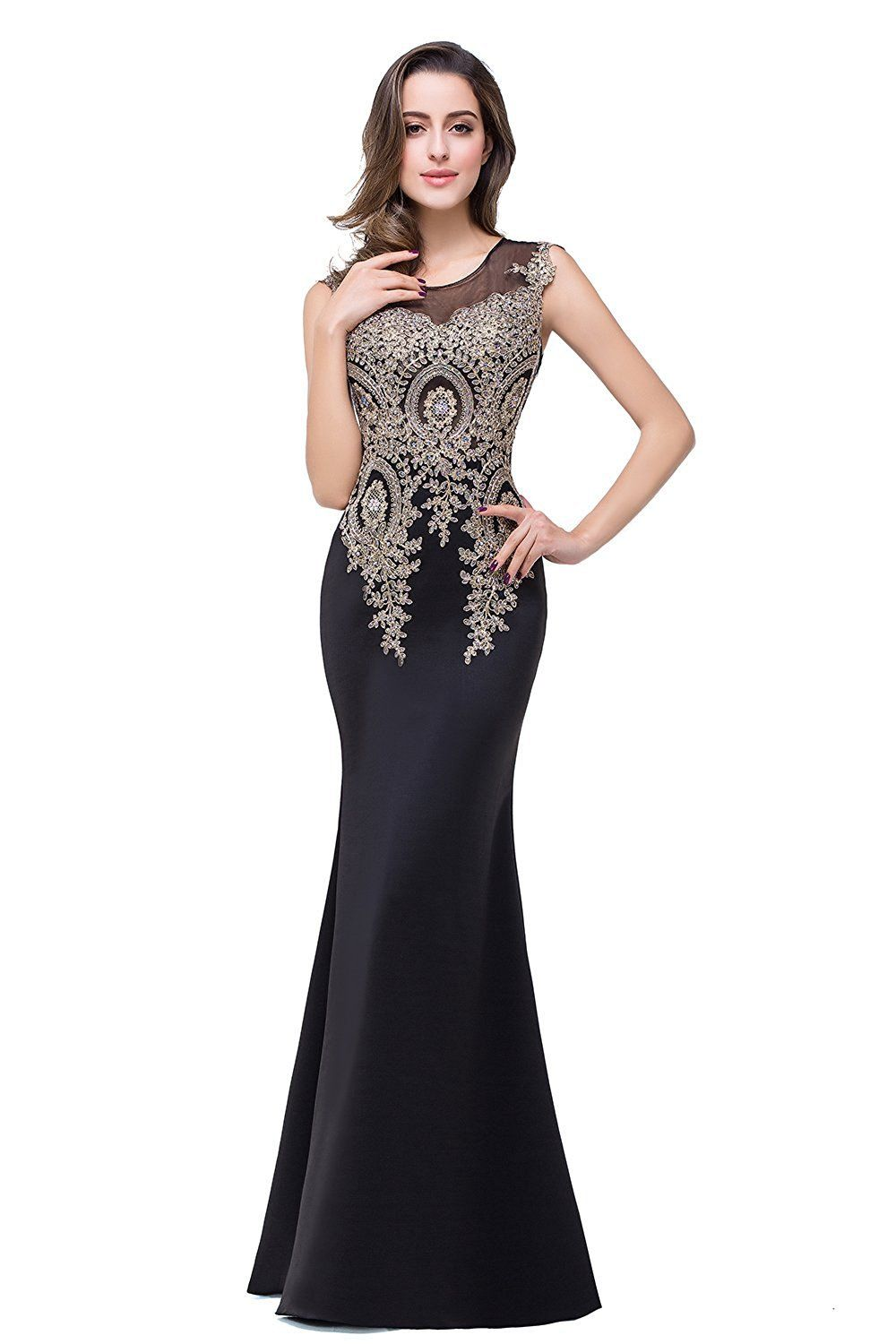 MisShow Women\'s Rhinestone Long Lace Formal Mermaid Evening Prom ...
