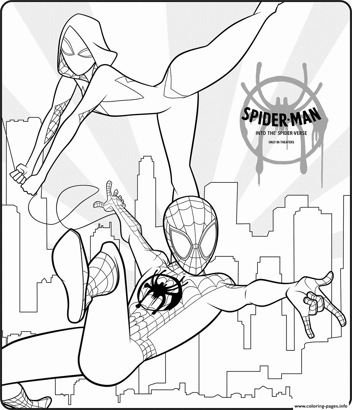32 Spider Man Into the Spider Verse Coloring Page in 2020