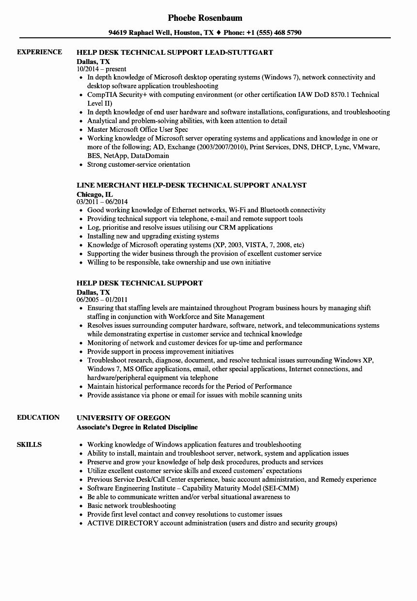 Help Desk Technician Resume Beautiful Help Desk Technical