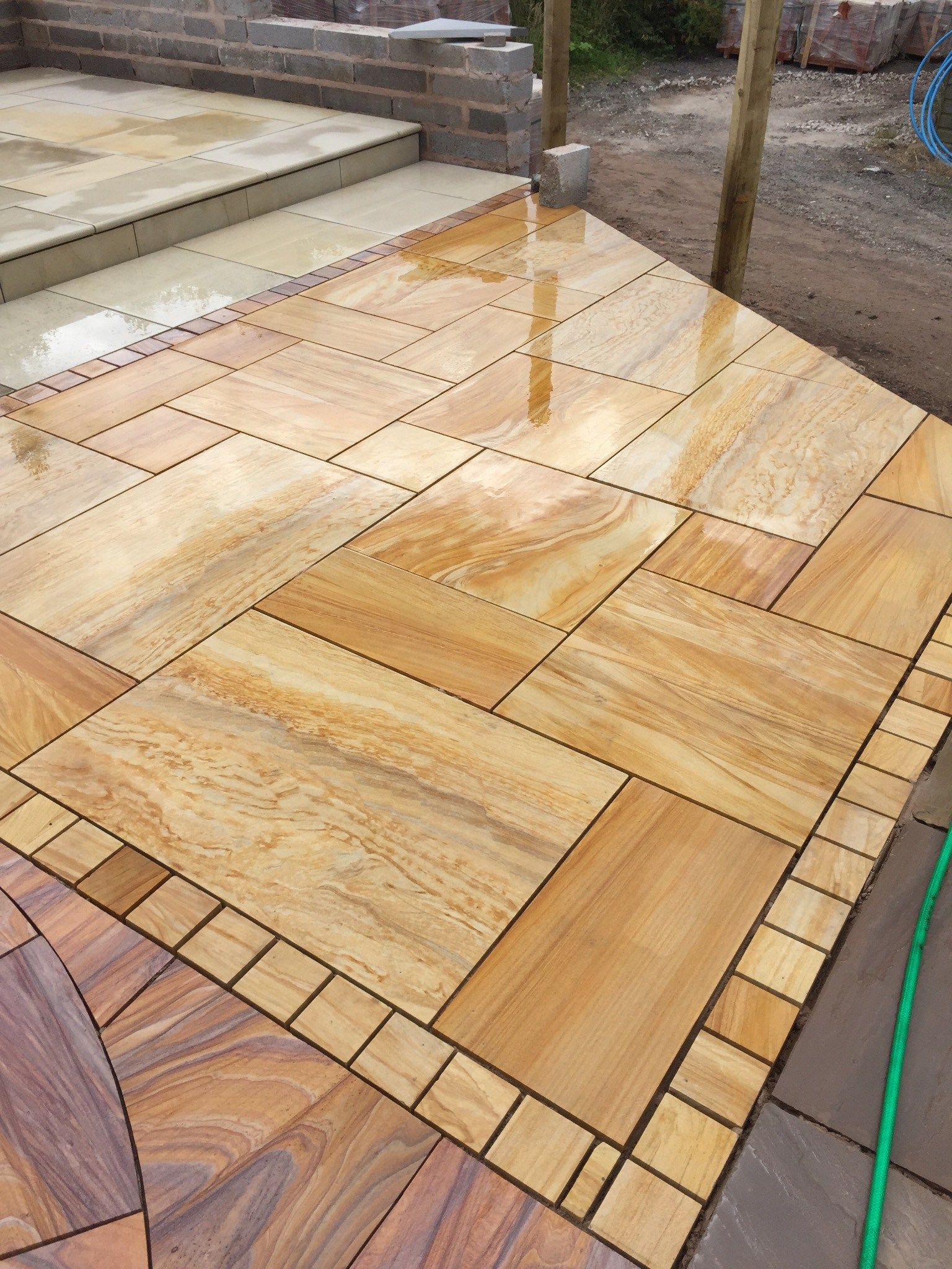 Teakwood Sawn Smooth Sandstone Paving Slabs From Cheshire Sandstone   UK  Suppliers Of Indian Sandstone