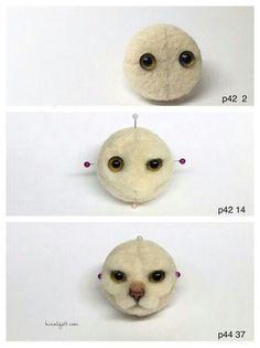 Needle felted cat face tutorial #needlefeltedcat