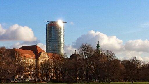 Rhein, Düsseldorf, ergo, Sonnenschein