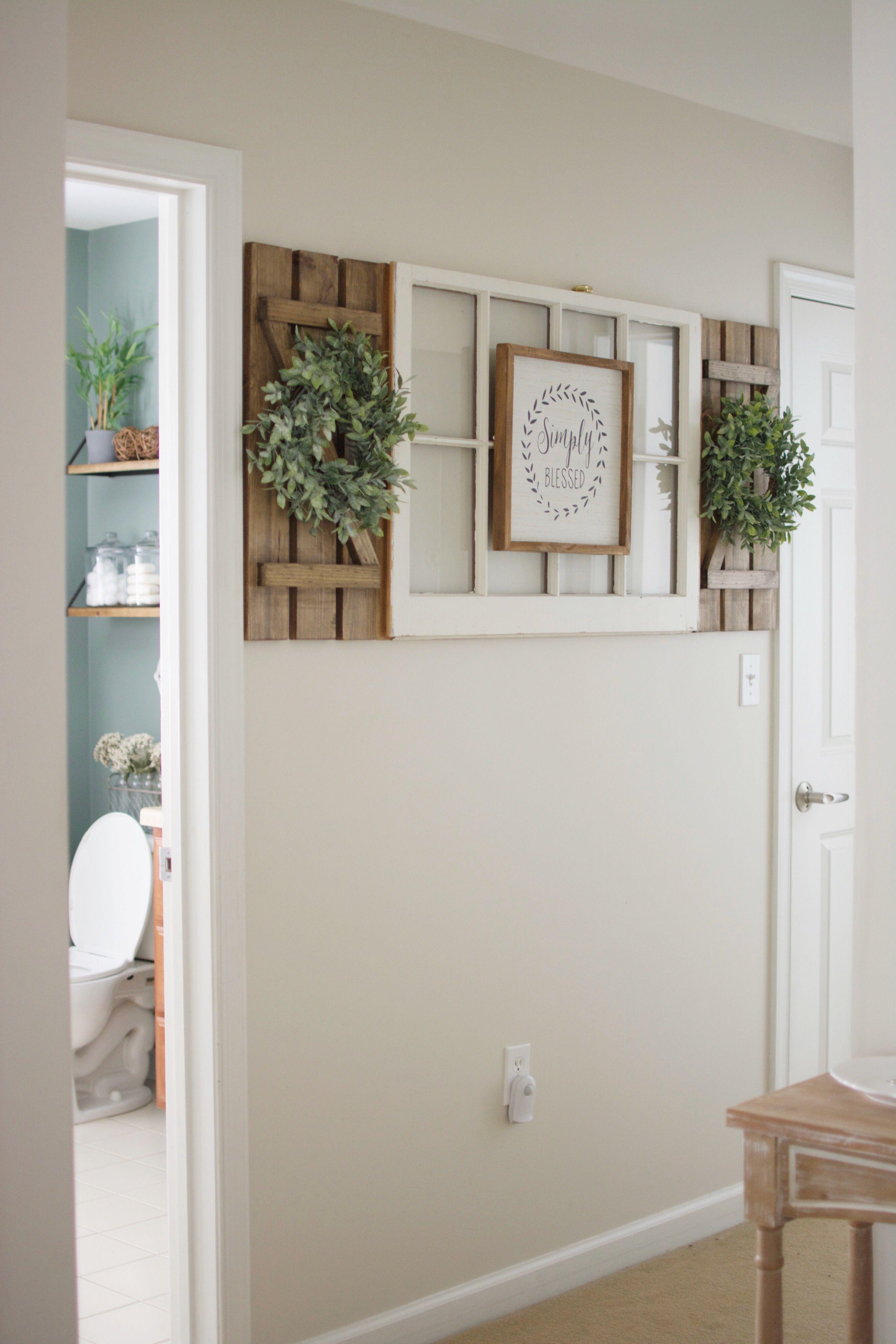 Antique window diy shutters hallway wreaths wreath